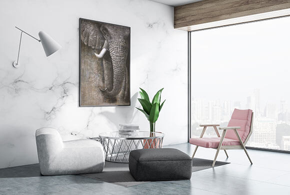 An elephant oil painting well fits the environment.